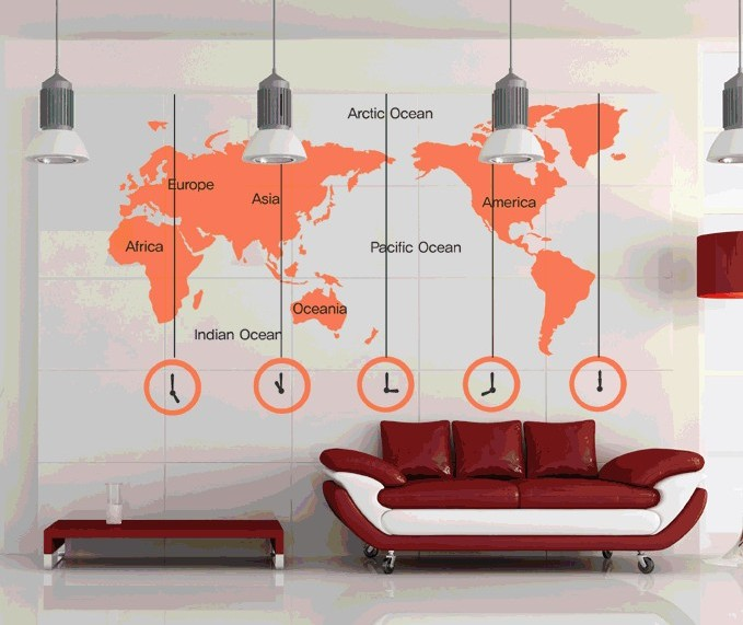 world map clock wall stickers removable diy decal living room bedroom wallpaper office home art