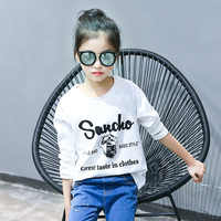 Children's clothing 2019 spring and autumn new casual cartoon printing large children shirt shirt cotton long-sleeved T-shirt