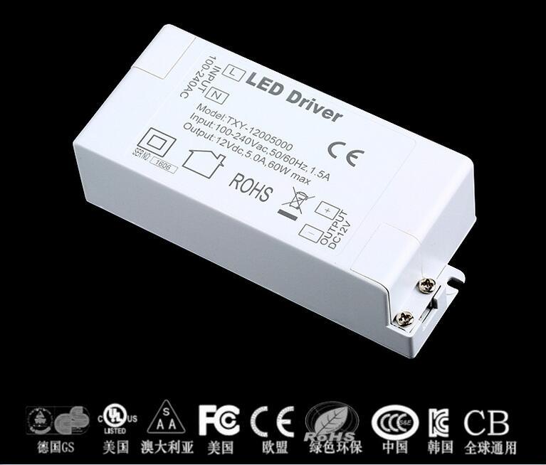 2019 Led Power Supply 12V 5A 60W LED Driver AC DC adapter 100V-240V Power Supply Lighting Transformer LED Lamp Strip 110V 220V