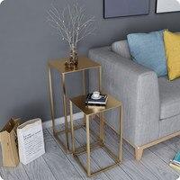 Nordic стиль небольшой журнальный столик простой мини современный гостиная диван угловой творческий американский металлический столик