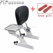 Motorcycle Chrome Sissy Bar Adjustable Luggage Rack Passenger Backrest for Harley Softail Fat Bob 2000-later