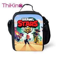 Thikin Casual Drawl Stars Cartoon Pattern Lunch Bags for Teen Girls Portable Cooler Box Tote Picnic Pouch