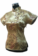 Fashionable Gold National Chinese Female Satin Blouse Women Summer New Shirt Tops Flower Vintage Button S M L XL XXL WS009