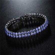 FYM Brand 19CM 7 Colors Double Row Bracelets & Bangles Fashion Blue Cubic Zircon Silver Color Bracelet For Women Bijoux Femme fym brand 19cm 3 colors silver plated bracelets