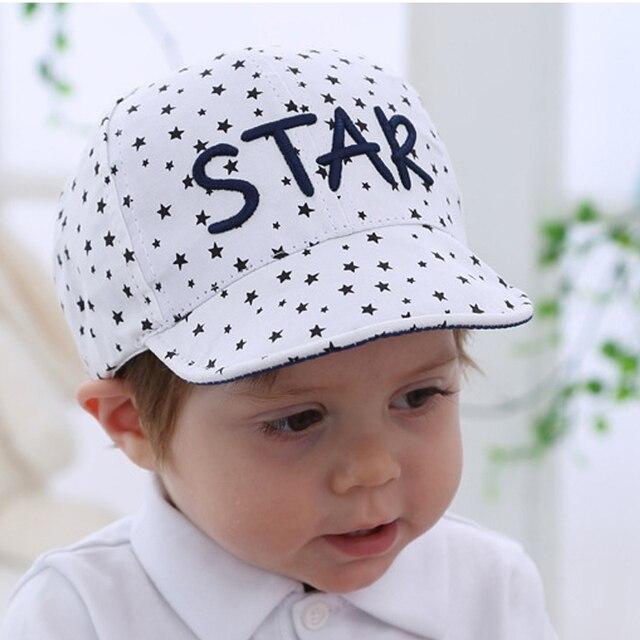 Estrella impresiones sombrero para bebé recién nacido algodón primavera  otoño Gorras de béisbol niños leter Bordado e73a32862df