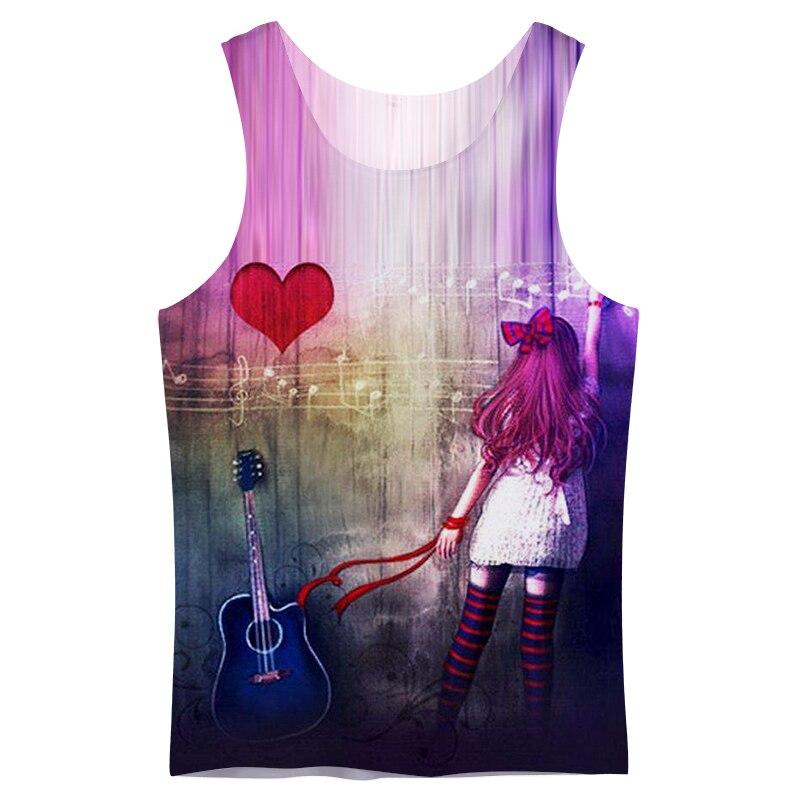 Cloudstyle 3D   Tank     Tops   Men Punk Girl Guitar 3D Print Sleeveless Vest Active Singlet Bodybuilding Fashion Casual Streetwear   Top