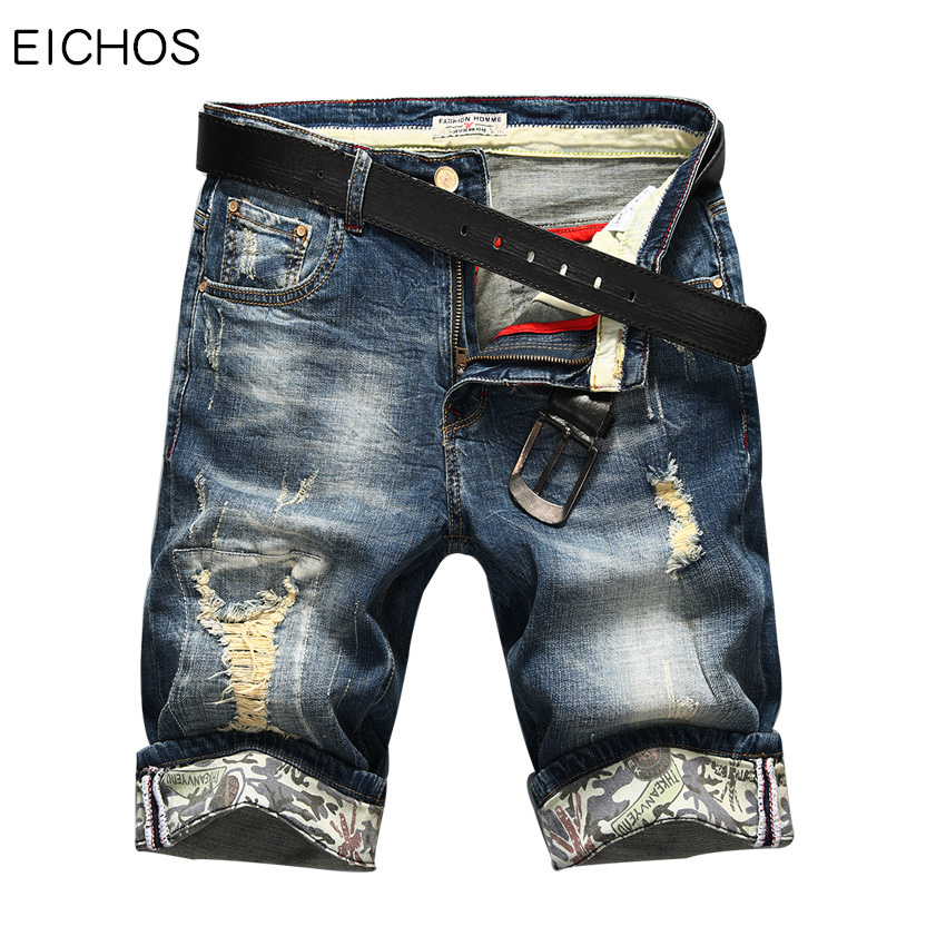 Hot Selling Summer Casual Short Jean Homme De Marque 2019 Korean Youth Mens Denim Shorts Elasticity Distressed Skinny Jeans Men