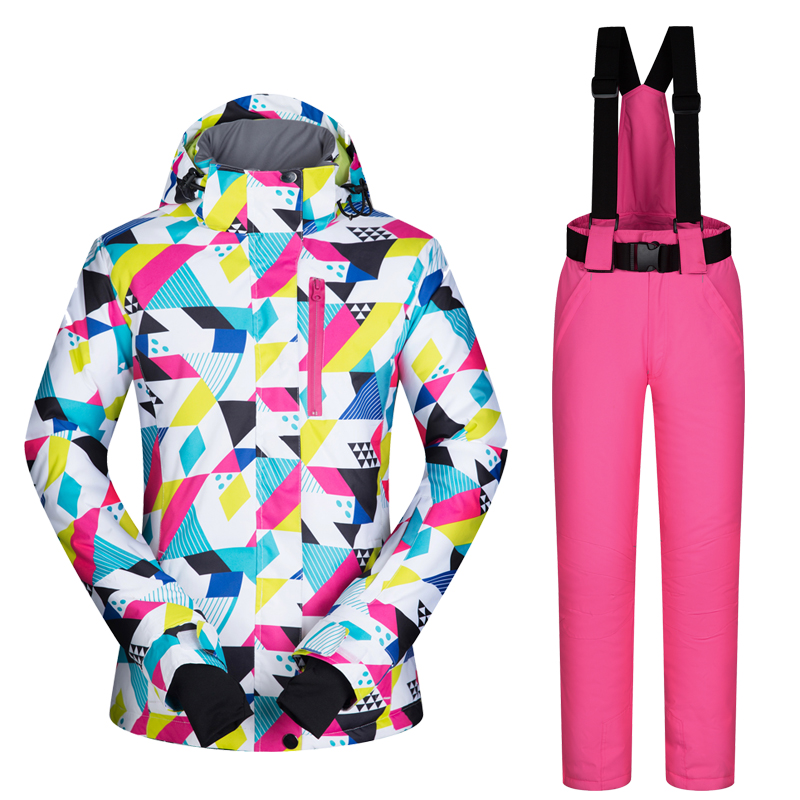 2017New High Quality Women Ski Suit Set Windproof  Waterproof Warmth Snowboard Jackets And Pants Winter Snow Sportswear Clothing gsou snow ski suit for women skiing suit winter outdoor sports clothes snowboard set camouflage ski jacket and pants multicolor