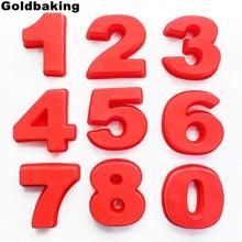 Goldbaking 10 Cal duże silikonowe formy numeryczne 0 9 cyfry arabskie formy do ciast forma do pieczenia na tort urodzinowy