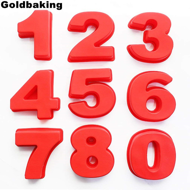 Goldbaking 10 Inch Large Silicone Number Molds 0-9 Arabic Number Cake Mold Baking Mold for Birthday Cake