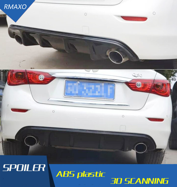 For Q50 Rear spoiler ABS Rear Bumper Diffuser Bumpers Protector For Infiniti Q50 Q50L After chrome