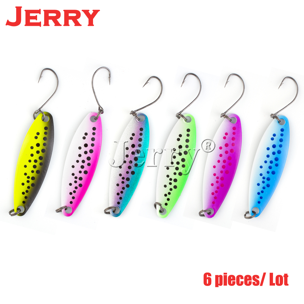 Jerry 5pcs 3.3g 5g fishing spoon salmon trout free tackle box metal lures spots winter fishing bait free shipping assassin topwater suspend sinking minnow fishing lures 125mm16g 125mm14 5g 130mm 13 5g