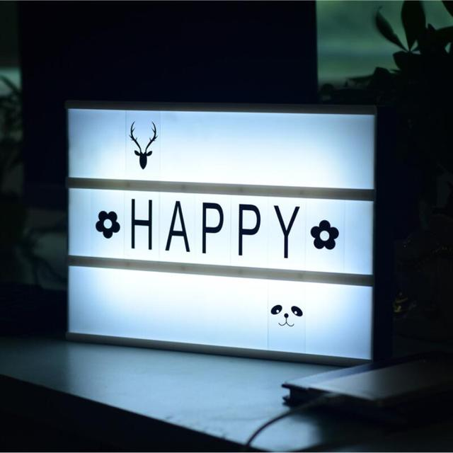 Diy Letter Night Light Cinema Box With 180 And Led Free Combination A4 Size Rechargeable Word Desk Lamp