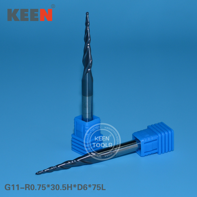 R0.75*30.5H*D6*75L  Two Flutes Ball Nose Tapered End Mills for Good Relief, ALTIN Coated