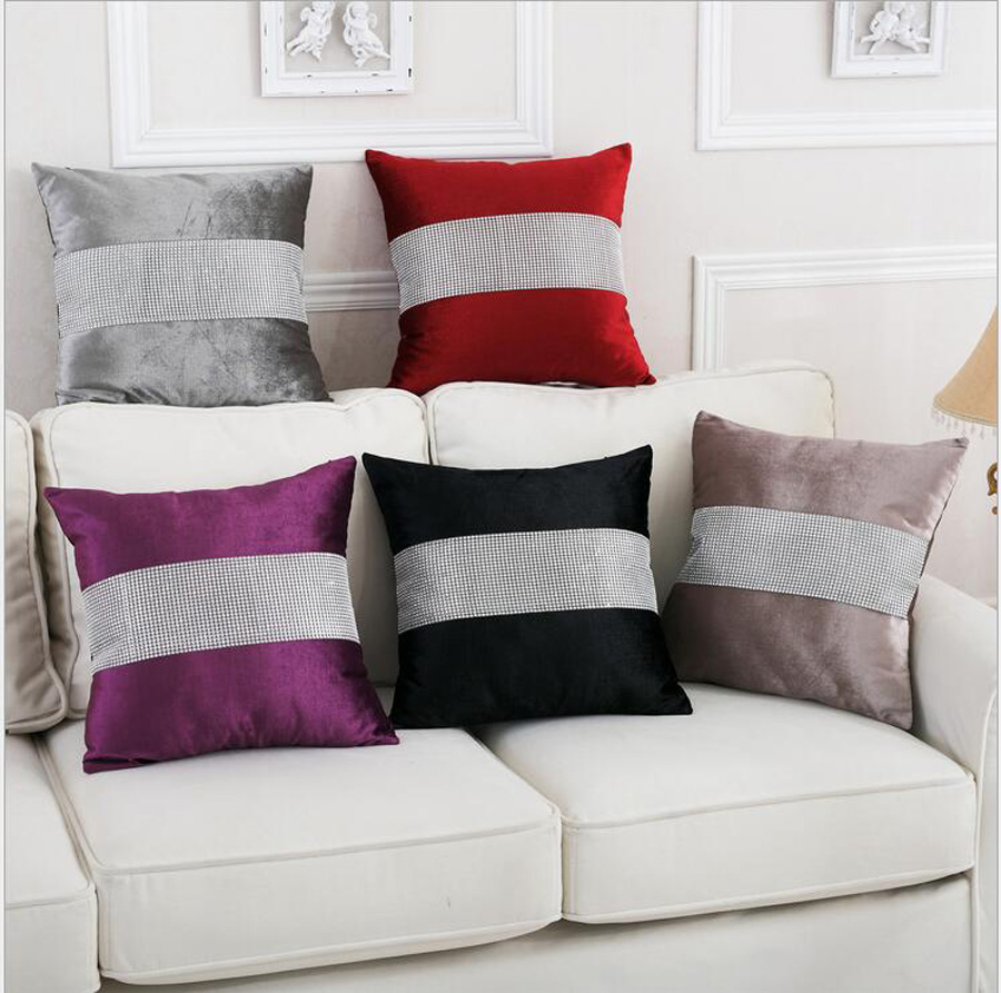 Shinny silver velvet diamond Wholesales Pillow cushion ivory Grey purple Cushion cover floral Home Decorative 45x45cm