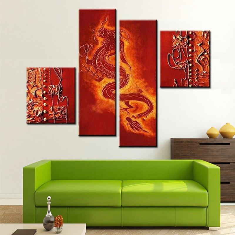 Grand 4 panneau photos peinture peint à la main abstraite rouge foncé Dragon chinois peintures à l'huile sur toile moderne décor à la maison mur Art