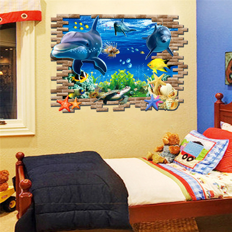 Sea Dolphin Ocean Window Fish Underwater 3d Wall Stickers For Kids