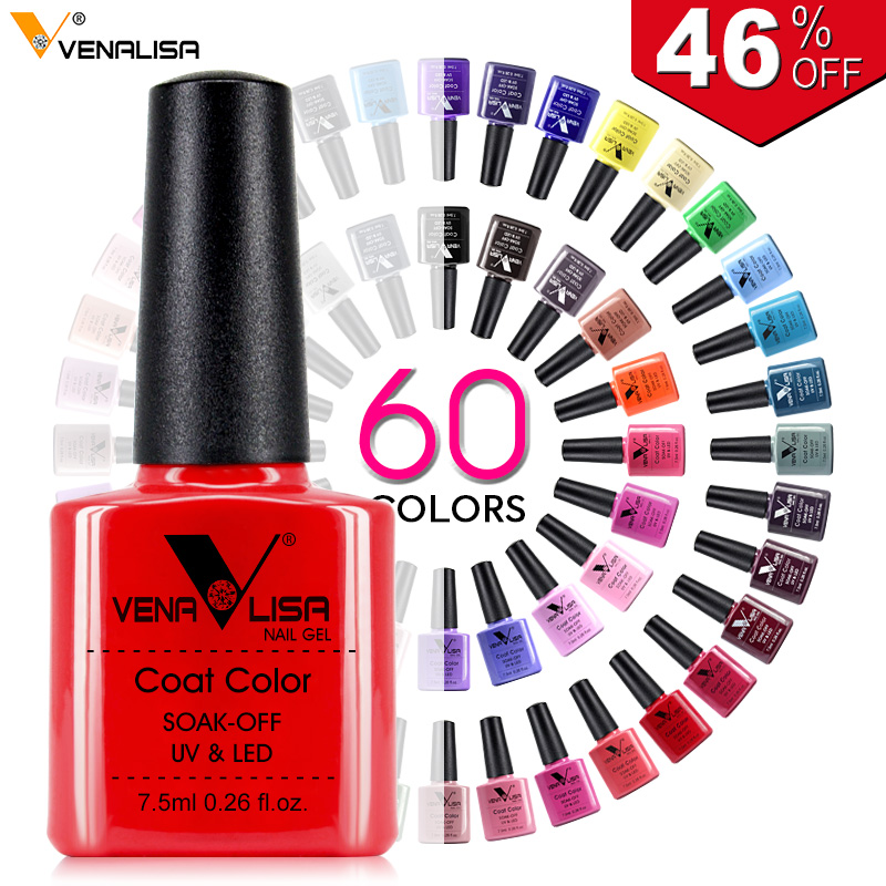 Nytt gratis frakt Nail Art Design Manicure Venalisa 60Color 7.5Ml Soak Off Emalje Gel Polish UV Gel Nail Polish Lacquer Larn
