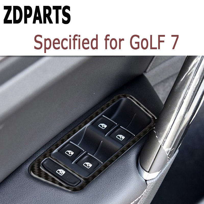 ZDPARTS 4pcs Fit for Volkswagen VW Golf 7 GTI R GTE GTD MK7 LHD 2013-2017 Carbon Fiber Window Lift Switch Button Trim Stickers 2014 2015 2016 vw golf 7 replacement carbon fiber door side wing mirror covers for volkswagen golf mk7 gti golf7 r car tuning