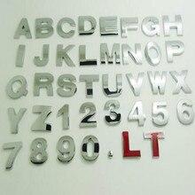 height 2.5CM Letter alphabet car emblem Letters A B C D E F G H I J K L M N O P Q R S T free shipping
