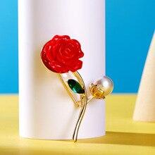 Fashion Romantic Red Rose Pin Alloy Pearl Flower Brooch Female Accessory Decoration Cute Womens Wedding Dress Ornament