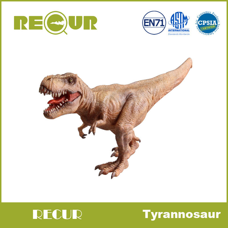 Recur Jurassic Dinosaur figure Tyrannosaur T-rex Model Highly Detailed Hand Painted Plastic Animal Figures Soft Toys Collections 37 cm tyrannosaurus rex with platform dinosaur mouth can open and close classic toys for boys animal model without retail box