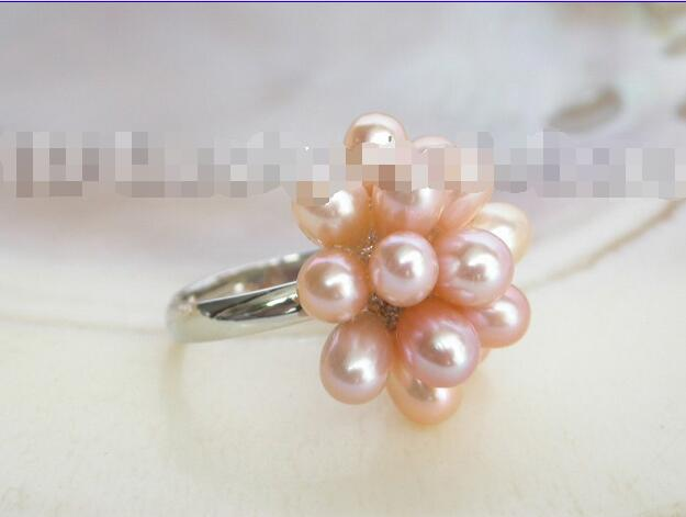 Wholesale price 16new ^^^^lustrous! 20mm pink culture freshwater pearls ring 18KG
