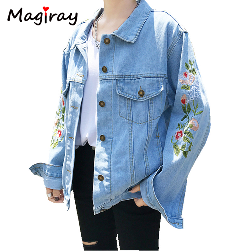 Magiray Floral Embroidery Jeans Jacket Women Bomber Spring Autumn Coat Loose Korean Harajuku Denim Top Female Clothes 2018 C138