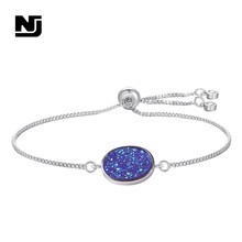 NJ Colorful Shinning Charm Bracelets for Women Pink White Black Decors Copper Chain Link & Bangles Jewelry