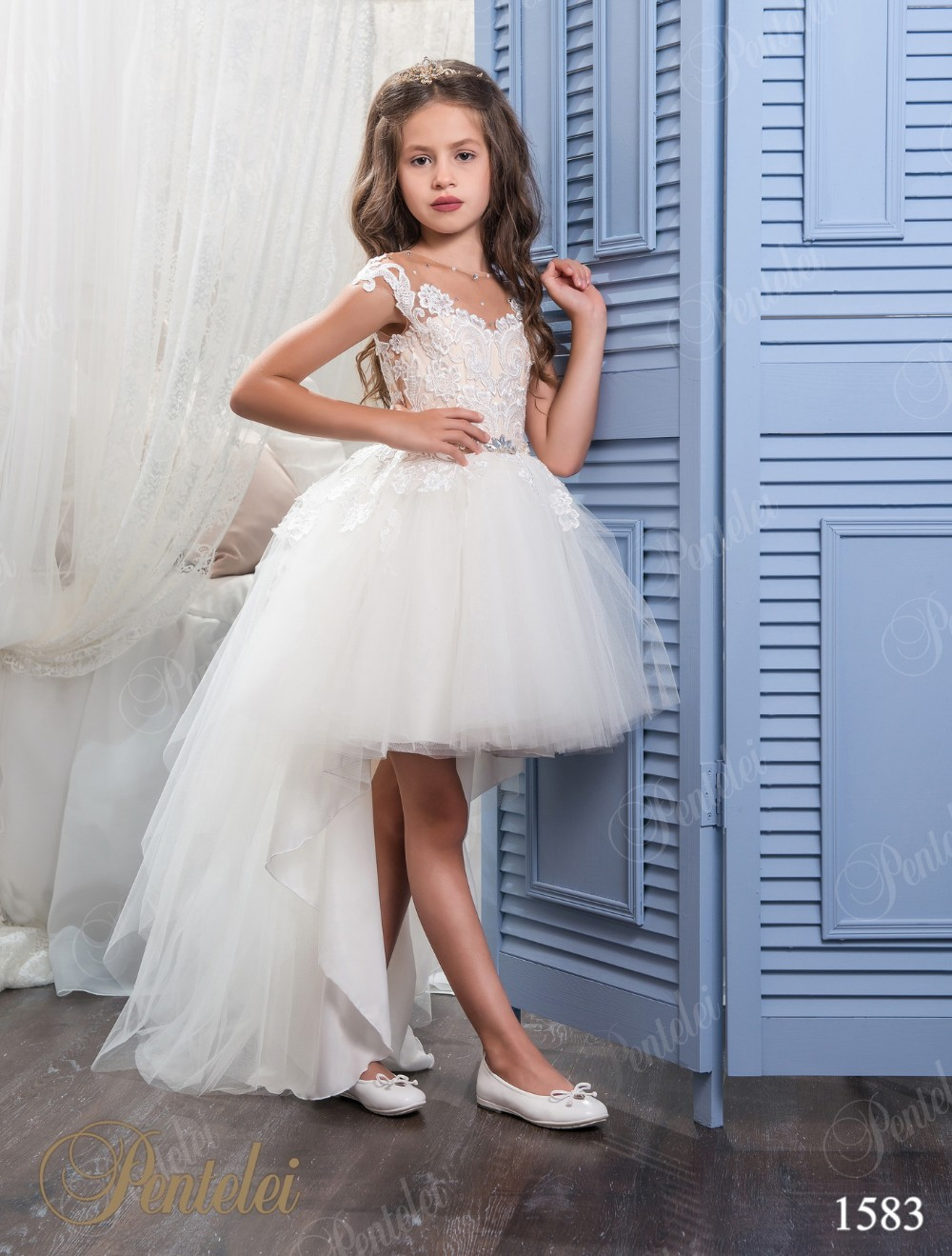 Cute Cap Sleeves Ball Gowns Hi-Lo Flower Girl Dresses 2017 First Communion Dresses for Kids Tulle Prom Party Christmas Eve Gowns new white and blue lace flower girl dresses birthday party pageant prom glitz frocks first communion ball gowns for juniors