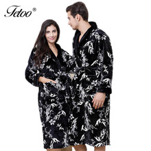 Fetoo 2017 Winter Thick Flannel Robes for Women Men Coupons Maple Leaf Long Sleeve Knee-Length Warm Bath Robes Kmono Bathrobes