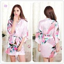 Female Solid plain rayon silk short Robe Pajama Lingerie Nightdress Kimono Gown pjs Sexy Women Dress bathrobe 13 colors #3795