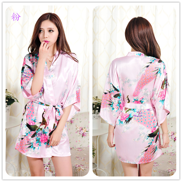 Female Solid plain rayon silk short Robe Pajama Lingerie Nightdress Kimono  Gown pjs Sexy Women Dress cf70219b8