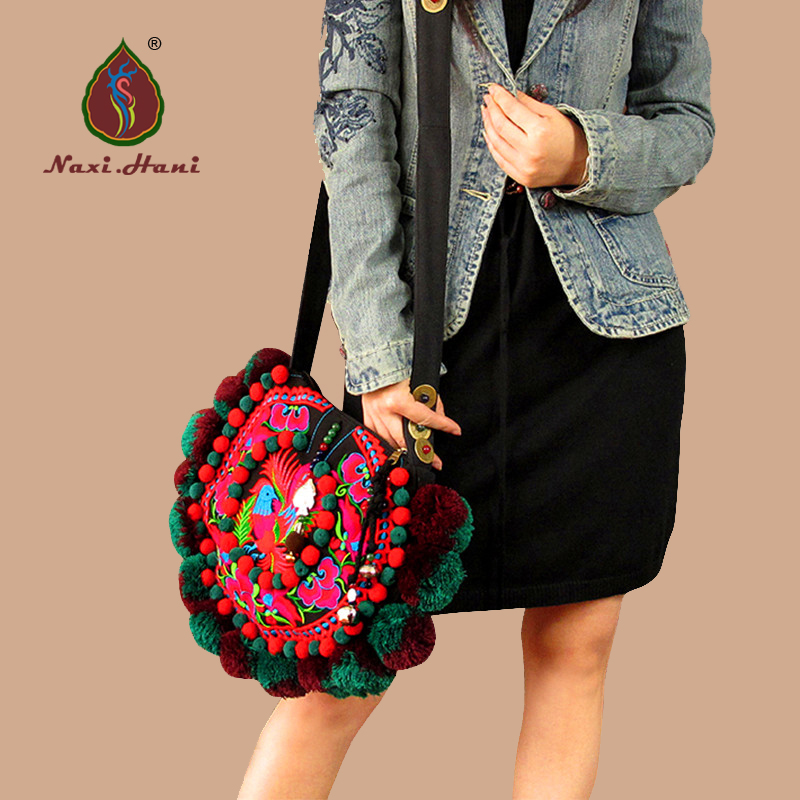 Naxi Hani Brand Original winter fashion Circular pompon bags Vintage embroidery Ethnic women shoulder bags