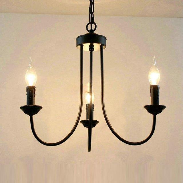 Mediterranean Black Painted Iron Living Room Chandeliers Romantic Dining Pendant Lamp Hallway Corridor Chain Hanging