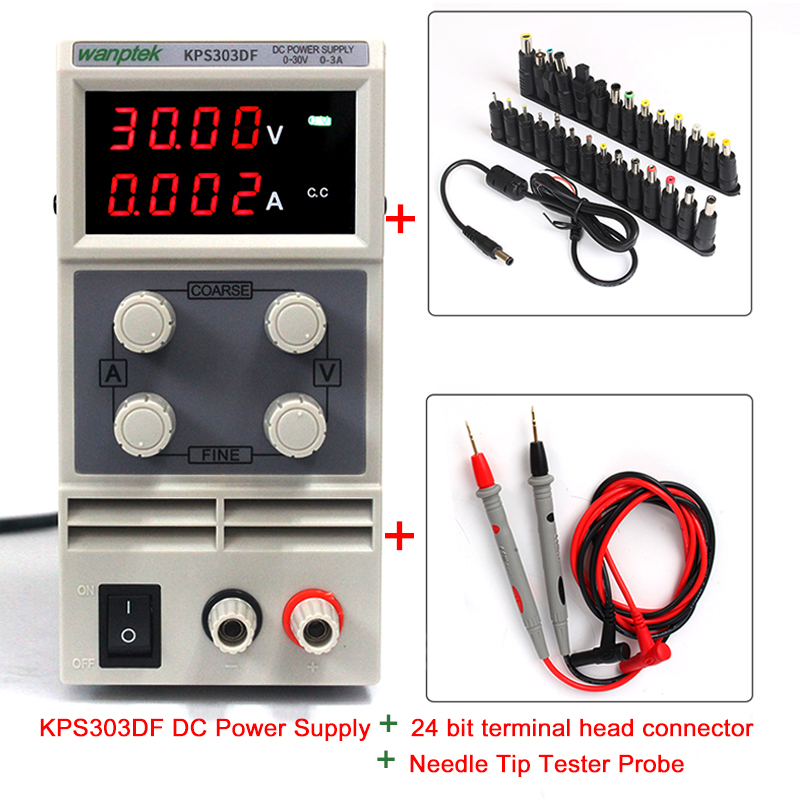 A suit of low noise 30V 3A Dual voltage input high precision  DC power supply mini  four dual LED display automatic reset overvoltage and undervoltage protector against abnormal voltage too high or too low of power grid