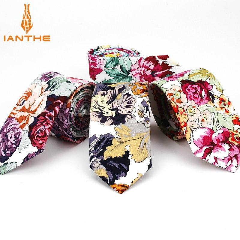 100% Cotton Tie Flower Print Necktie Men Fashion Classical 6cm Slim Skinny Ties Floral Wedding Party Business Necktie Bowtie