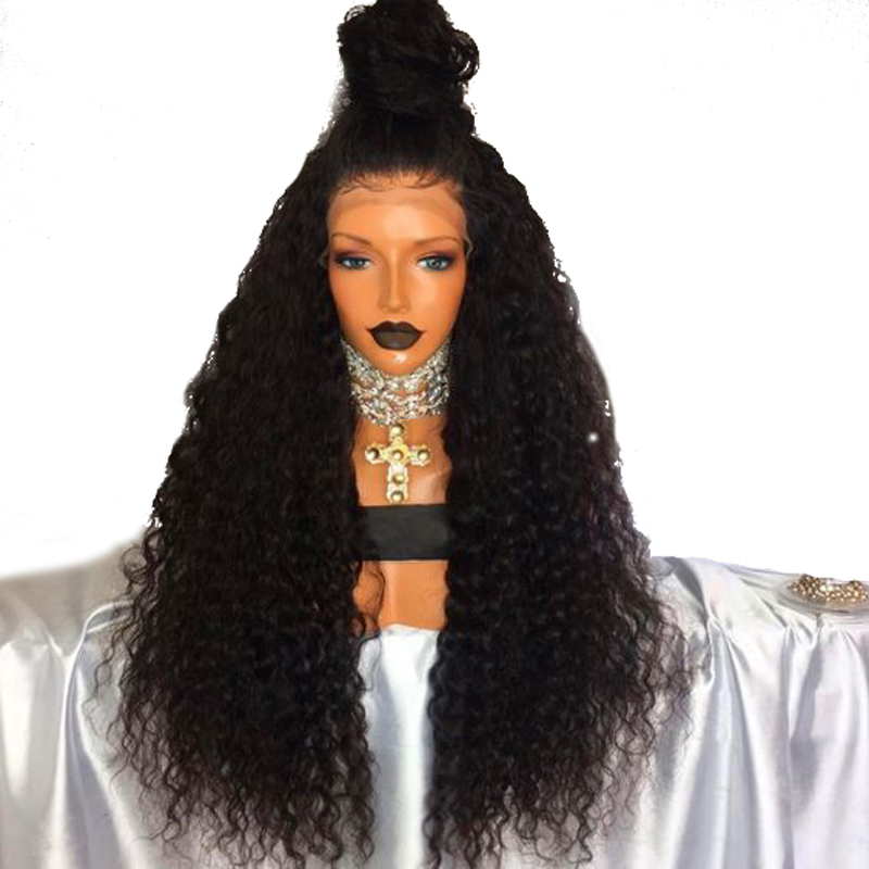 DLME 180% Density Curly Wigs for Women Heat Resistant Hair Black Wig with Baby Hair Glueless Synthetic Lace Front Wig for Women