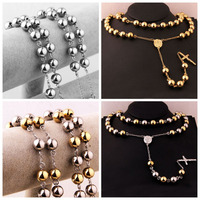 High Quality 10mm Wide Silver Gold Tone Stainless Steel Men Women Jesus Rosary Pendant Necklace 34