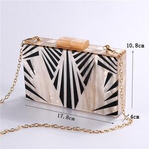 Image 5 - Bolsa de acrílico feminina, bolsa de acrílico de pérola com corrente geométrica, de retalhos, elegante, para festas, baile