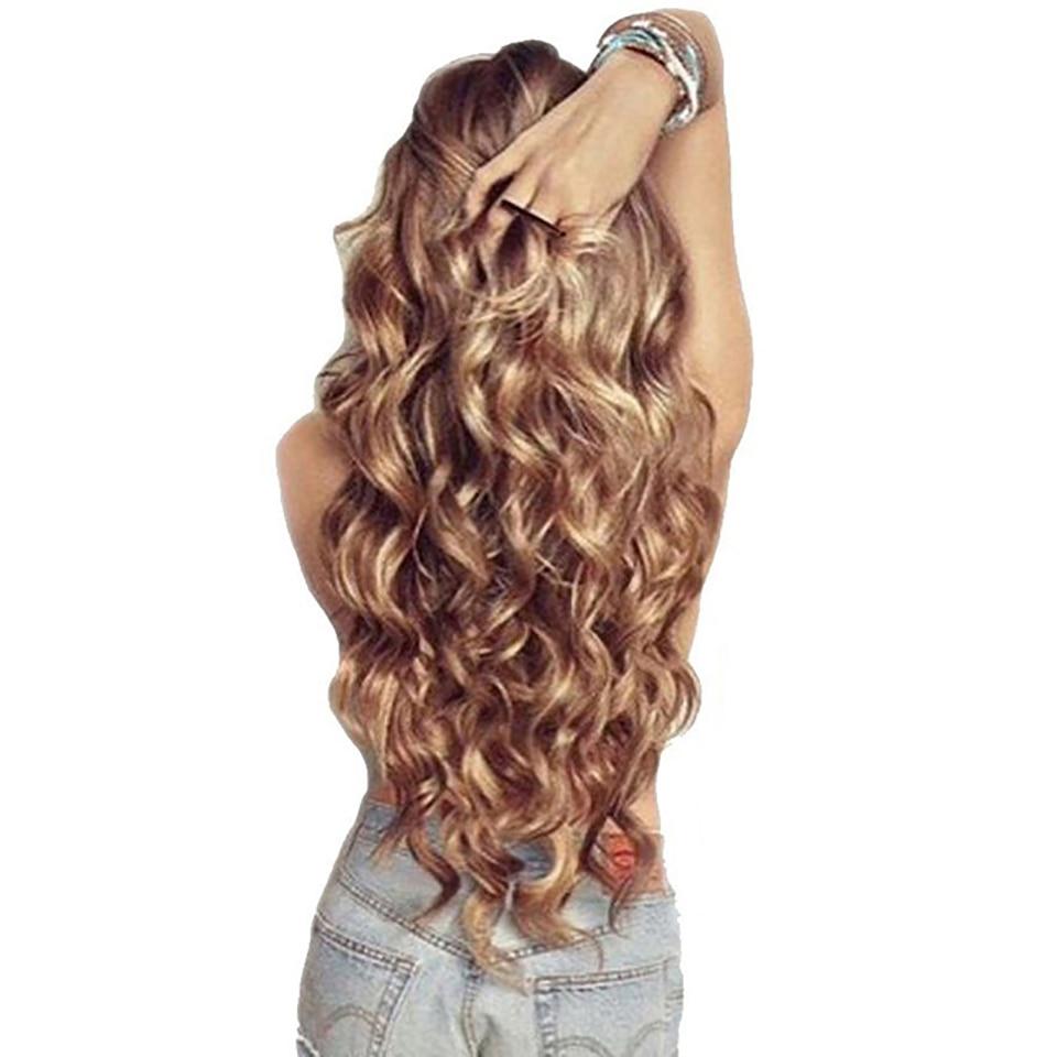 "WTB 12 צבעים 24 ""ארוך כרית שיער השחור בלונד סינטטי Hairpieces עמיד בחום דגי קו Halo בלתי נראה גלי שיער תוספות"