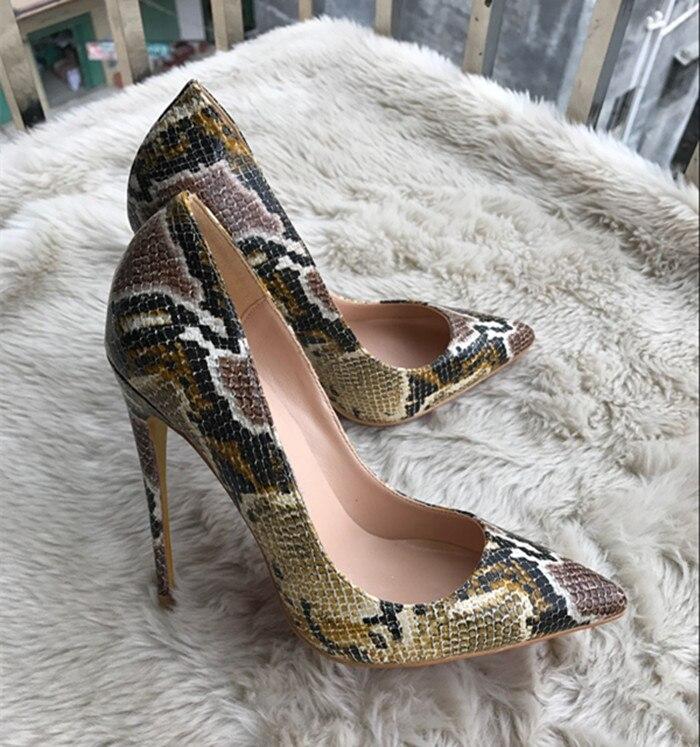 Новинка 2017 натуральная кожа змеиной кожи на каблуке острым закрытым носком Обувь на высоком каблуке туфли-лодочки Размер