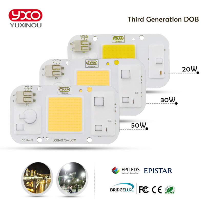 YXO YUXINOU DOB LED COB Chip 50W 40W 30W 20W 10W AC 220V No need driver Smart IC bulb lamp For DIY LED Floodlight Spotlight 2 pieces 220v directly 30w 50w 100w integrated ic led pcb smd 5730 aluminum base plate no need driver for floodlight free