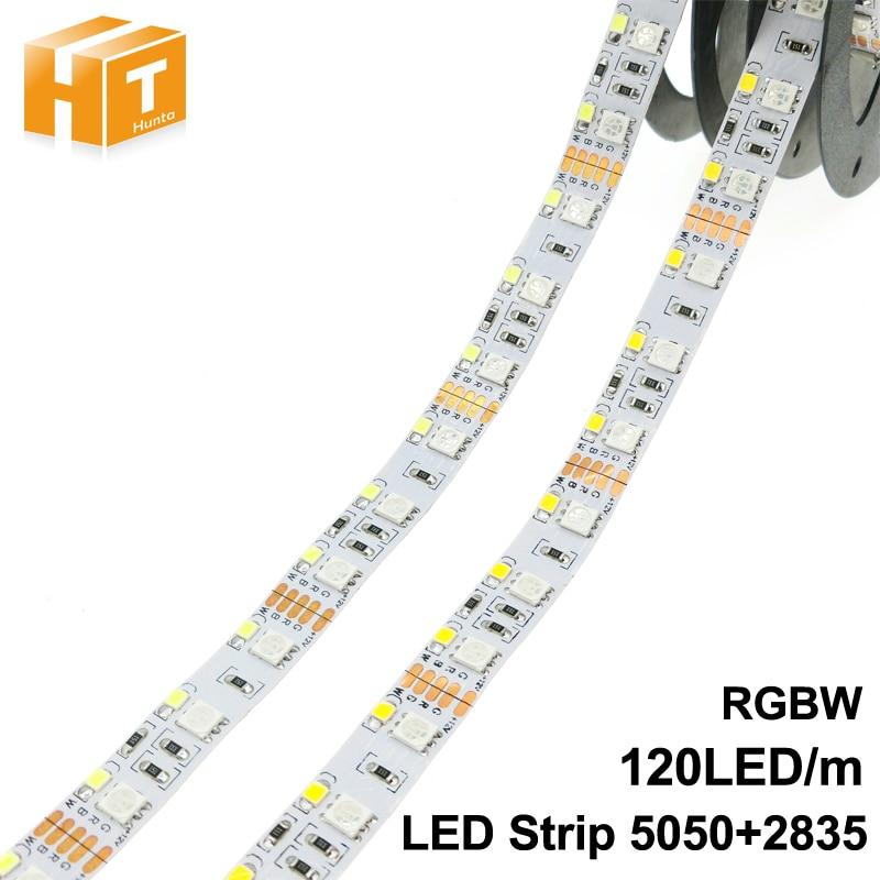 Double Row RGBW LED Strip 5050 RGB + 2835 White / Warm White DC12V 120 LED/m 5m/lot 600leds Strip.