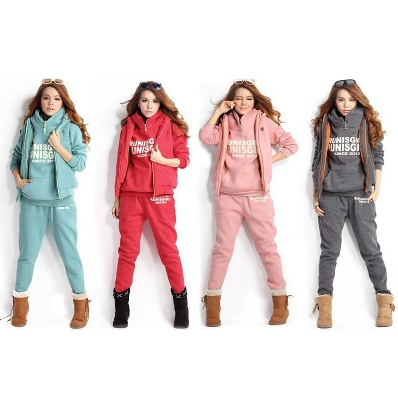 Women Tracksuits Autumn Winter 3 Piece Set Hoodies + Vest + Pants Warm Sport Suit Women Letter Printed Tracksuits Set Plus Size
