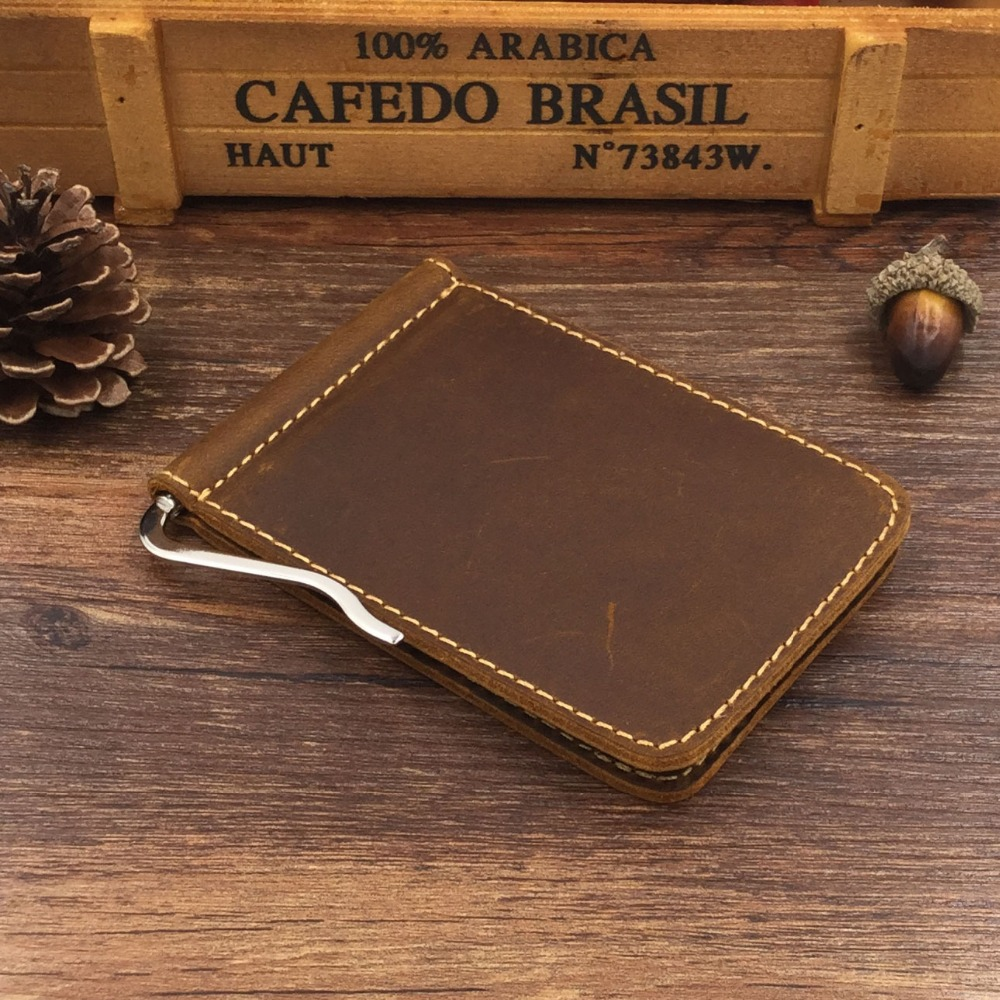 Explosion section of the original Crazy Horse Paper wallet first layer of leather leather wallet US money clip card package(China (Mainland))