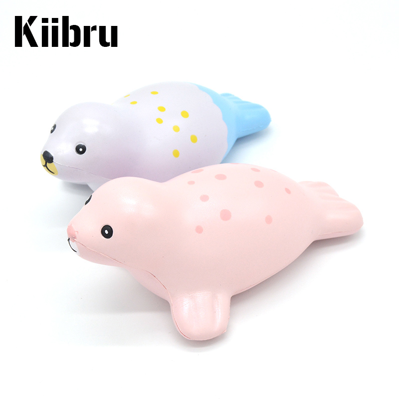 12 Pieces/lot Kiibru Super Jumbo Cute Playful Seal Slow Rising Squishy Scented Original Package Kids Toy Gift