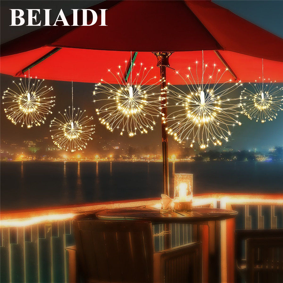 BEIAIDI 120 Leds Starburst Fairy Twinkle Light With Remote 8 Mode Battery Firework Decor String Lights Christmas Wedding Garland 200 leds diy hanging starburst string light solar powered firework copper fairy garland christmas wedding twinkle lights ca79