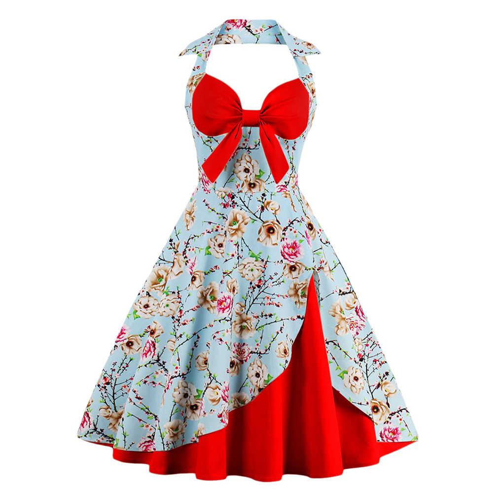 2017 Baru Musim Panas Gaun Wanita Halter Patchwork Vintage Gaun Plus Ukuran Partai Santai Feminino Rockabilly Gaun Swing Vestidos