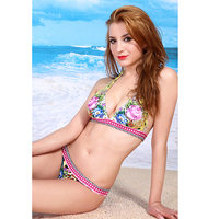 2016 Sexy Films Bordered Floral Printed Two Pieces Push Up Bikini Neck String Design Halter Bohemia